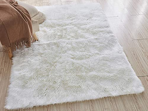 Home Must Haves White Faux Fur Sheepskin Area Rug 5' x 8'