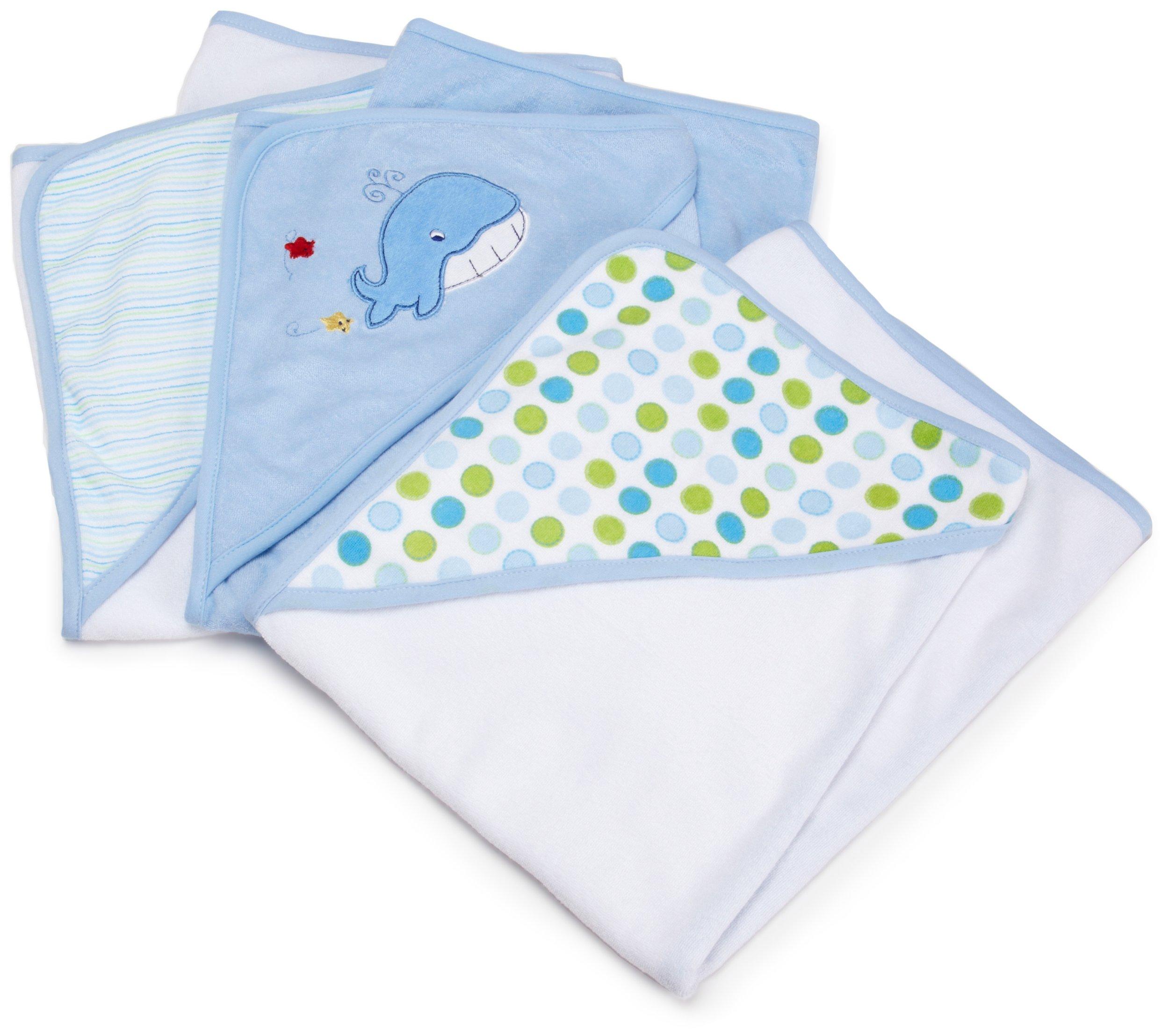 Spasilk 3 Pack Soft Terry Hooded Towel Set, Blue by Spasilk