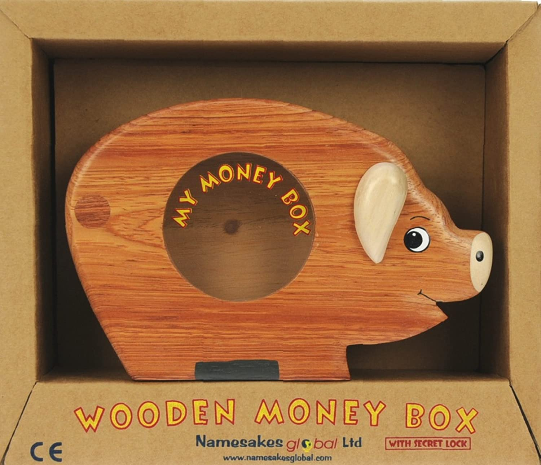 size 17 x 13 x 5cm Wooden Piggy Bank for Children Namesakes Pig Money Box for kids /& Adults Top Xmas Gift for Boys /& Girls Novelty Secret Lock!