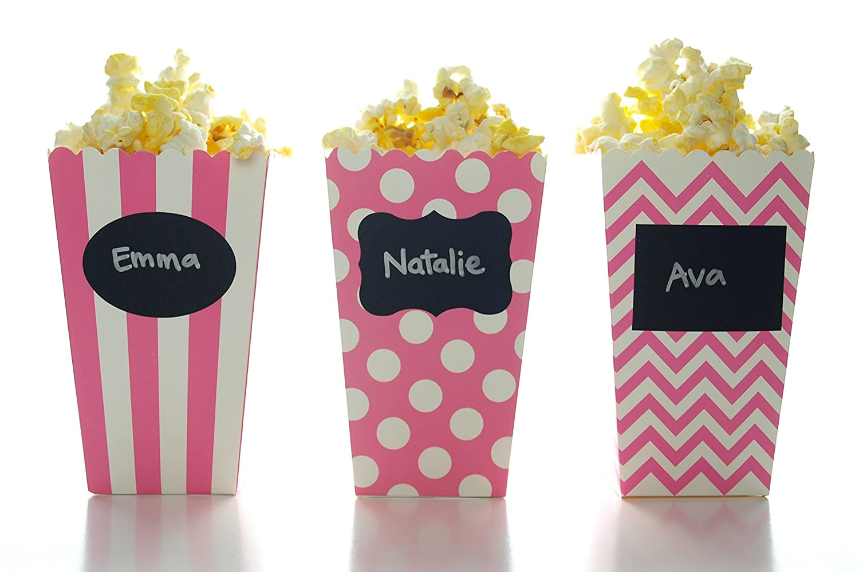Amazon.com: Hot Pink Popcorn Boxes & Black Label Chalkboard Vinyl ...