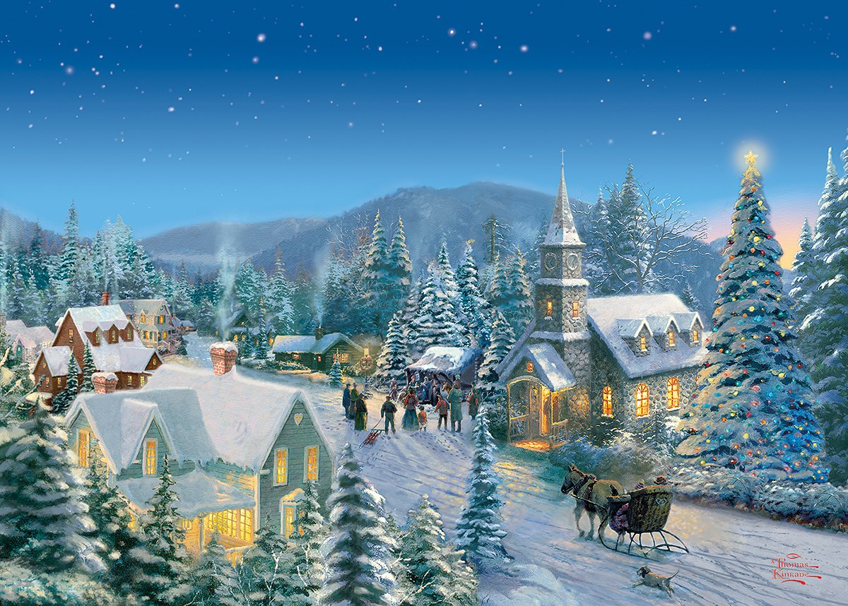 Thomas Kinkade Christmas.Thomas Kinkade Holiday Traditions 1000pc By Gibsons