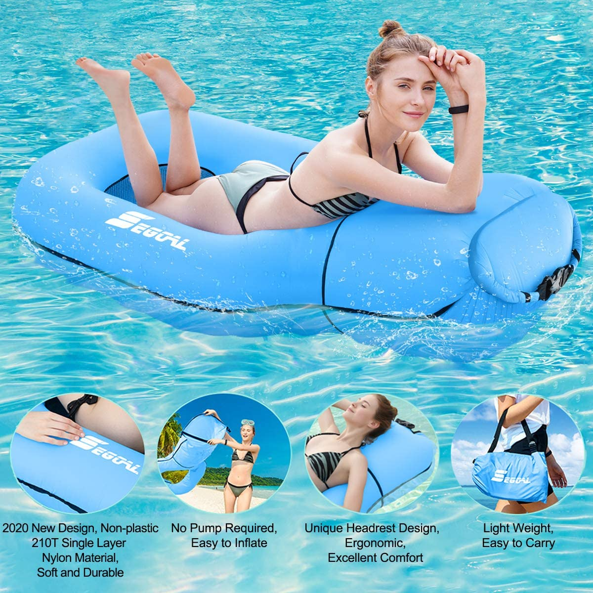 2020 Pool Floats Inflatable Floating Lounger Chair Water Hammock Raft Swimming Ring Pool Toy for Adults & Kids, Lightweight Single Layer Nylon Fabric