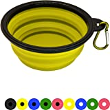 Zenify Dog Bowl - 400ml Collapsible Foldable Food and Water Feeder Dish - Portable Travel Leash Lead Slim Accessories for Training Pets Puppy Dogs (5 inches / 12.7 cm) (Yellow/Black)