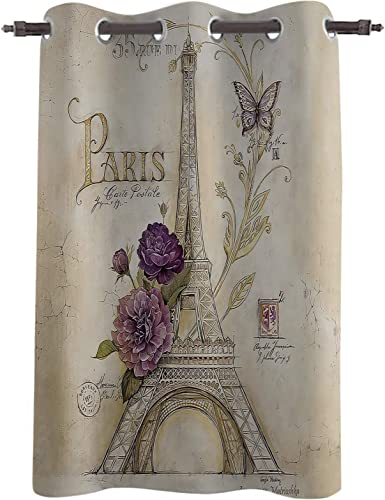 Z L Home Retro Paris Eiffel Tower Blackout Window Curtains Thermal Insulated Drapes Purple Flowers and Butterfly Window Panel Grommet Darkening Treatment