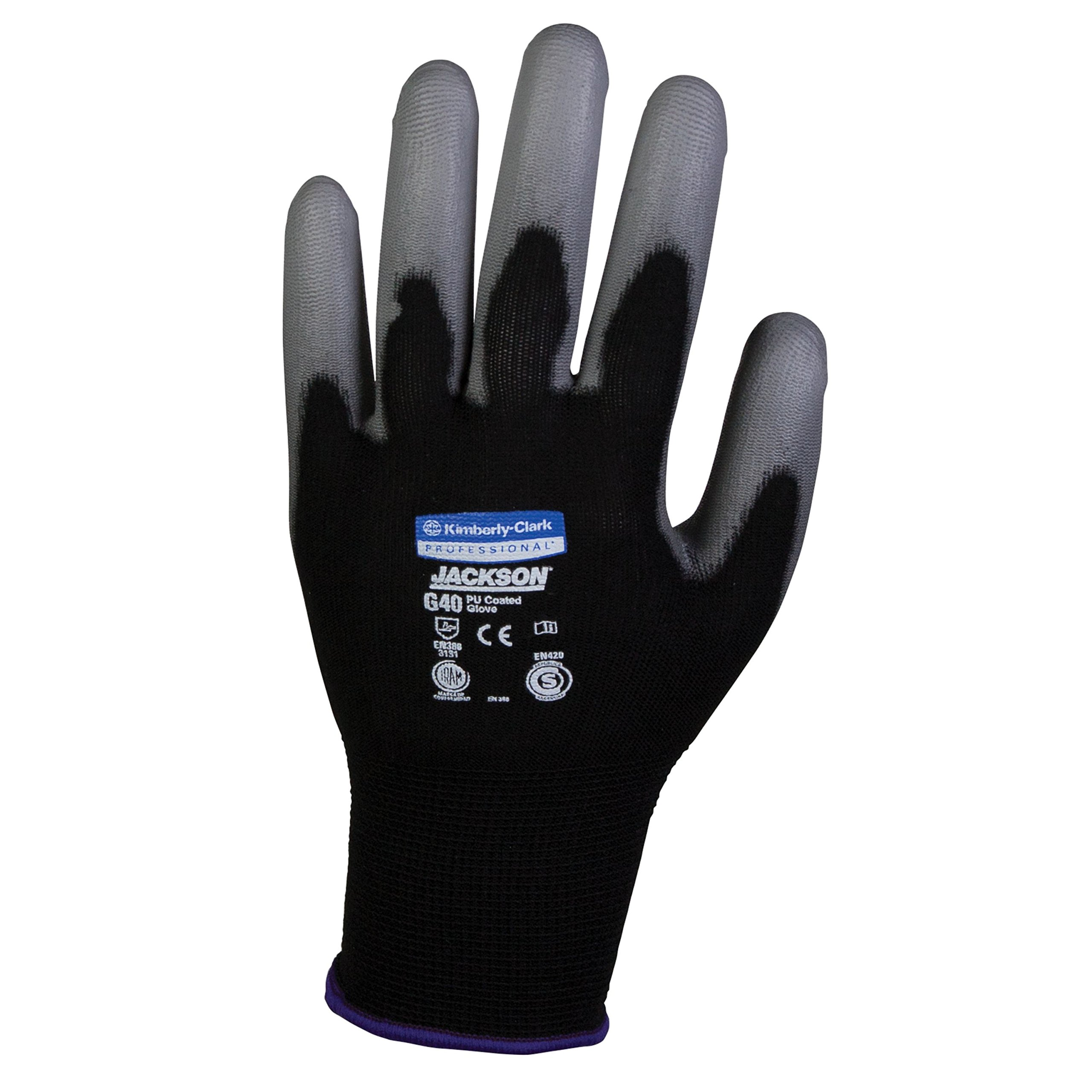 JACKSON SAFETY 13838 G40 Polyurethane Coated Gloves, High Dexterity, black, 15.000'' Height, 12.000'' Wide, 2.500'' Length, Polyurethane, Medium/ 8 (Pack of 60)