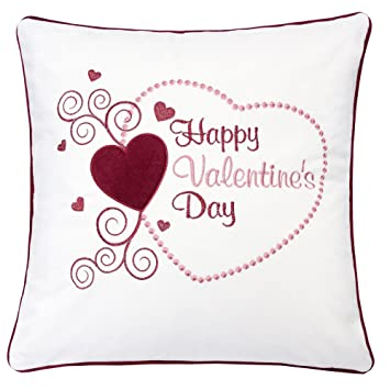 Homey Cozy Valentine S Day Embroidery White Velvet Throw Pillow