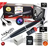 FabQuality PRIMIUM Hidden Camera Spy Pen Camera 1080p Secret . FREE 16GB SD + SD Reader & 5 ink Fills Inc! Real HD Video, Voice + Image Upgraded Battery Executive Multifunction DVR. Perfect Gift