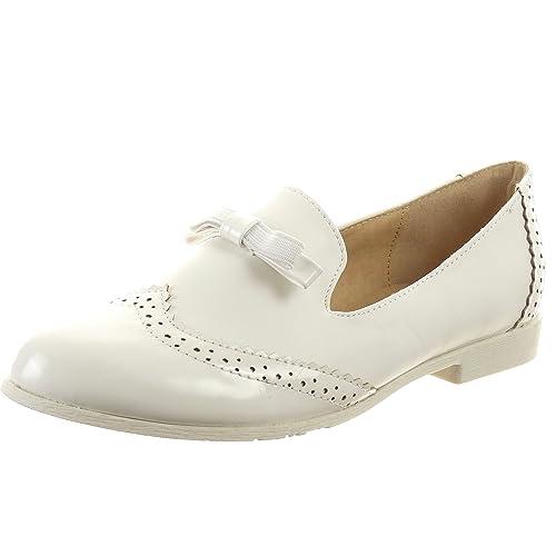 Sopily - Zapatillas de Moda Zapato Acento Mocasines Tobillo Mujer Brillantes Talón Tacón Ancho 2 CM - Blanco FRF-BL90 T 41: Amazon.es: Zapatos y ...