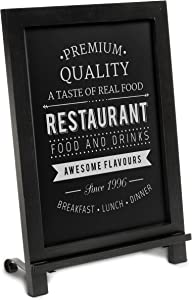 HBCY Creations Rustic Black Wooden Tabletop Chalkboard with Legs/Vintage Wedding Table Sign/Small Kitchen Countertop Memo Board/Antique Wooden Frame (12