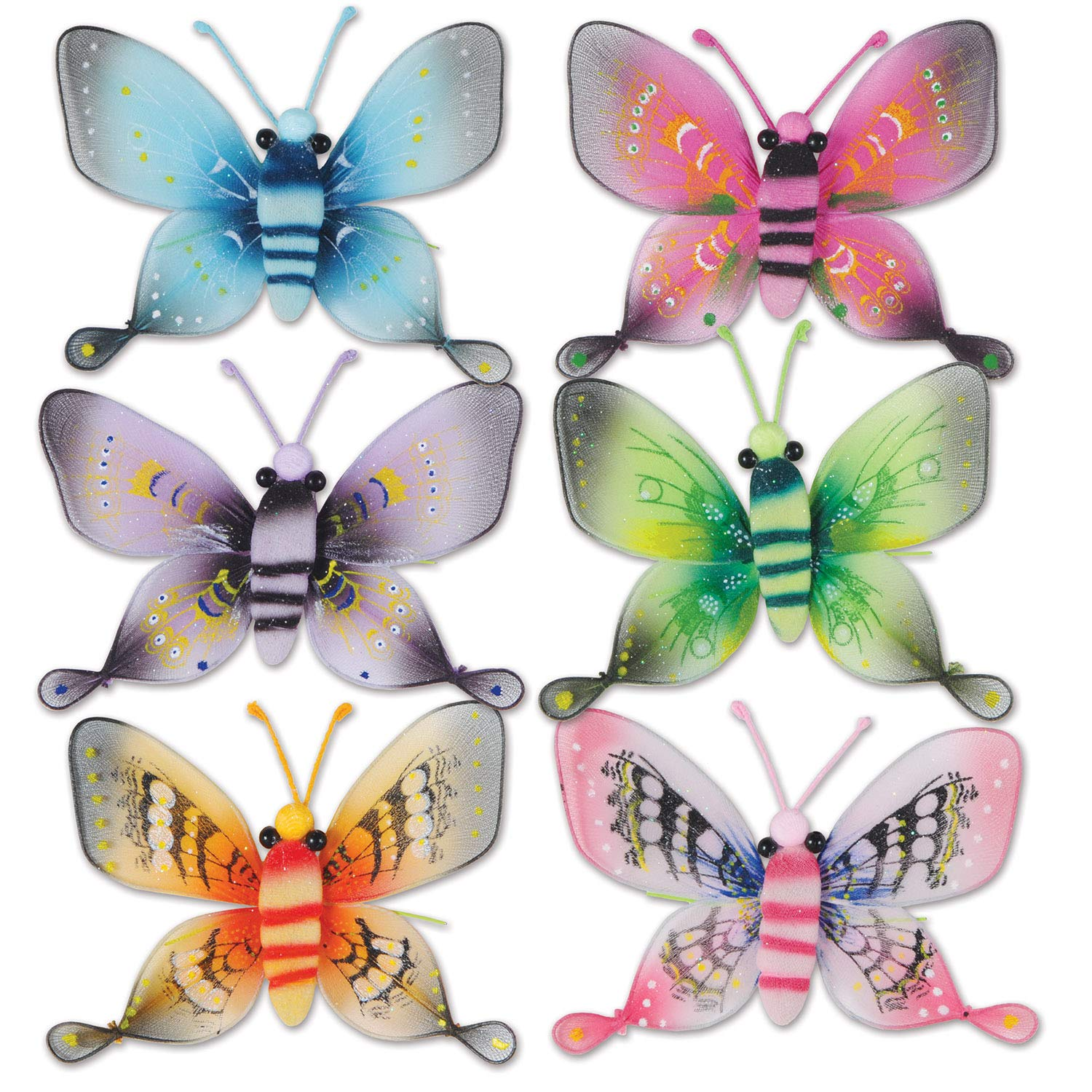 Beistle Butterfly Decortations, 5 Inch Printed Glittered Nylon Fabric Wings Assorted Colors, Pack 12