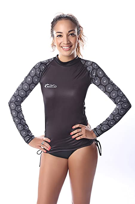 e387ffb14b1ac Amazon.com  MADCAP Womens Rash Guard Long Sleeve Swim Surf Shirt Top ...