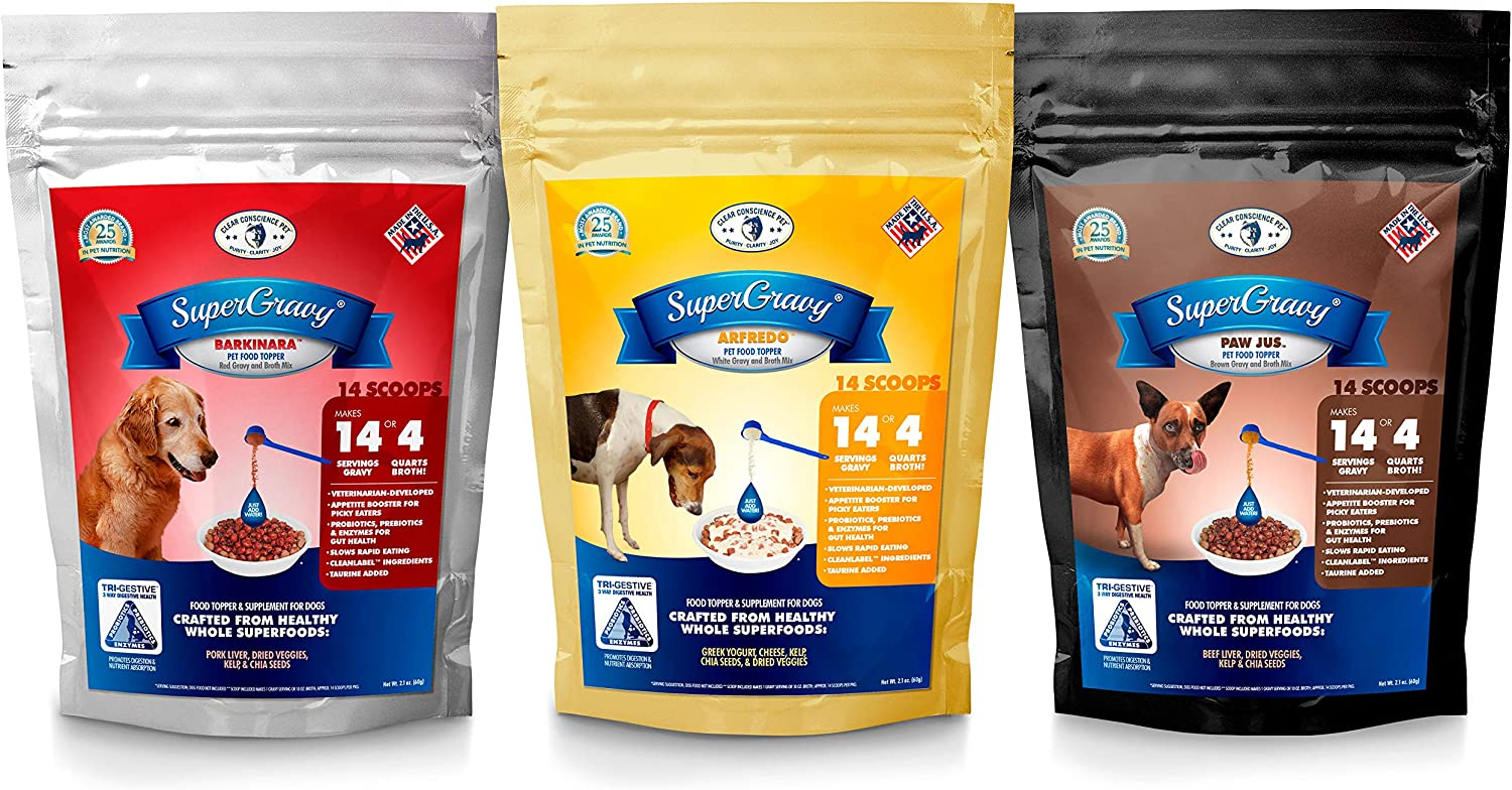 Clear Conscience Pet SuperGravy Bundle - Natural Dog Food Gravy Topper - Hydration Broth Food Mix - Human Grade – Kibble Seasoning for Picky Eaters – Gluten Free & Grain Free, 42 Scoops, 01095