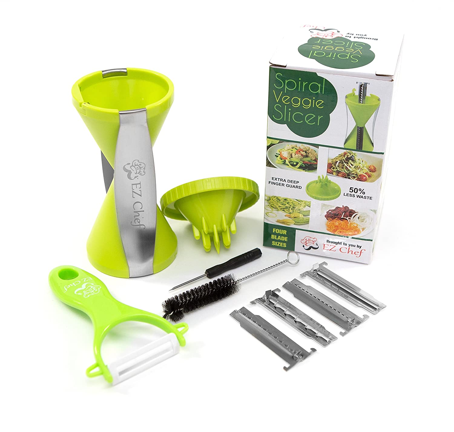 EZ Chef Comfort Handle, BPA Free, 4-Blade Vegetable Spiralizer Bundle