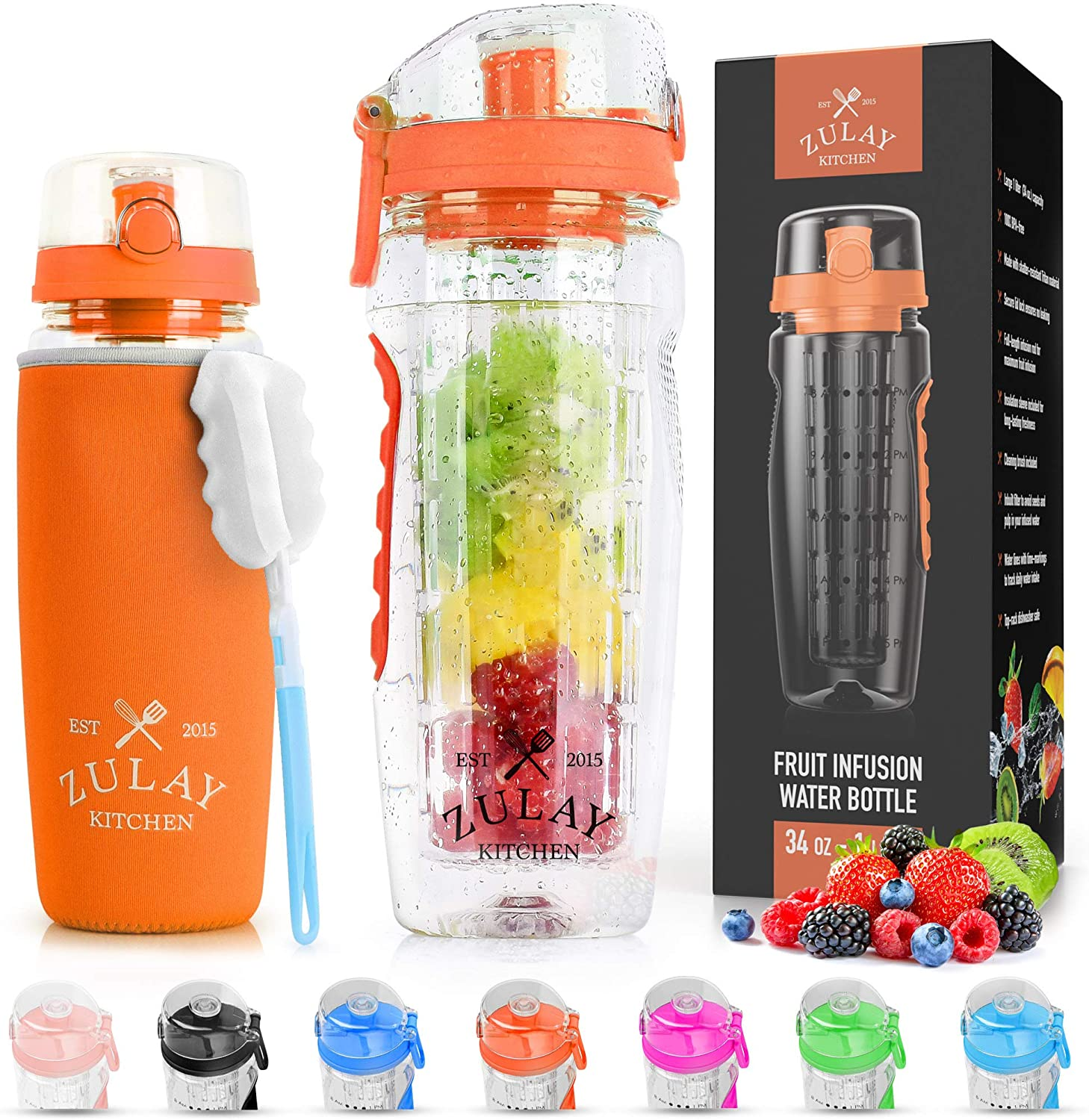 Zulay (34oz Capacity) Fruit Infuser Water Bottle With Sleeve - BPA Free Anti-Slip Grip & Flip Top Lid Infused Water Bottles for Women & Men - Water Infusion Bottle With Cleaning Brush