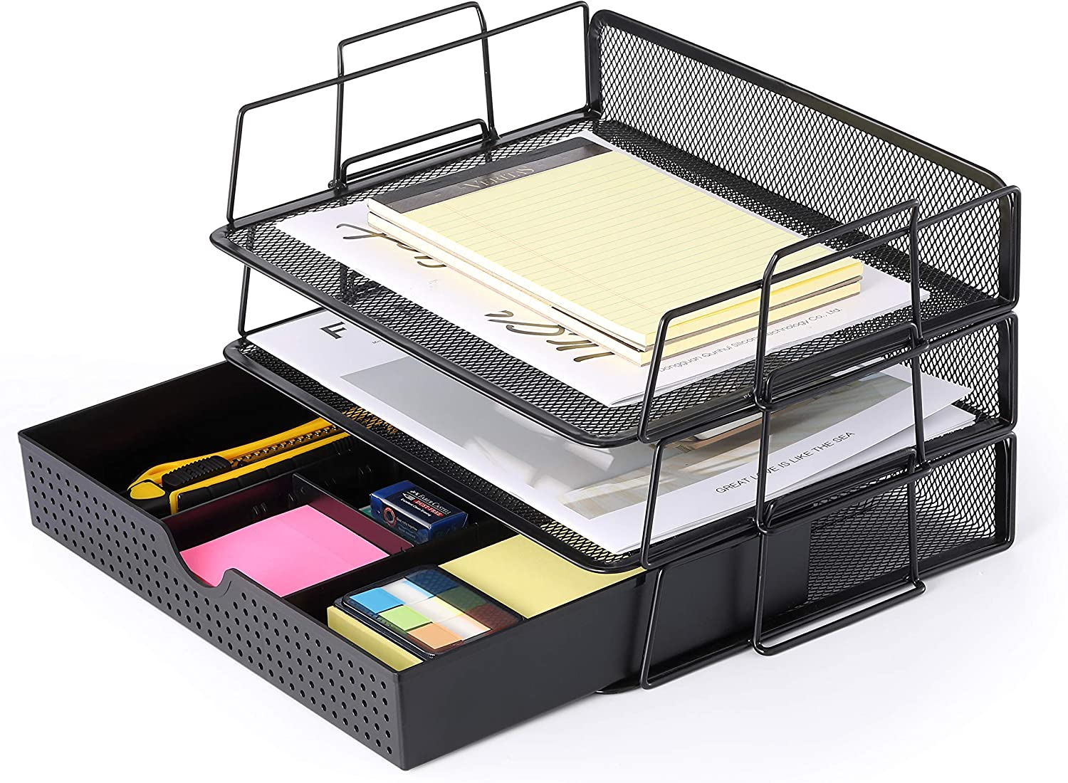 CAXXA 37 Trays Stackable Letter Tray, Desk File Organizer, Desktop Paper  Tray Holder with Drawer, Black