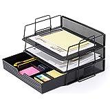 CAXXA 3 PK- Stackable Letter Tray, Desk File Organizer, Desktop Paper Tray Holder with Drawer, Black