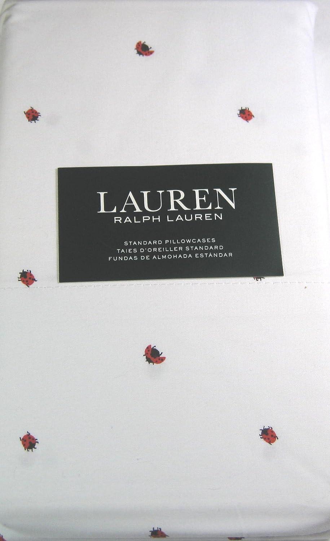 Lauren Standard Pillowcases Lady Bugs White 100/% Cotton Multi Color 2 Pack