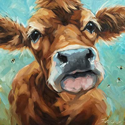 Jigsaw Puzzle 1000 Piece Cute Cow Drawing Suitable for Teenagers and Adults Wooden Puzzle Unique Home Decorations and Gifts 75x50cm: Toys & Games