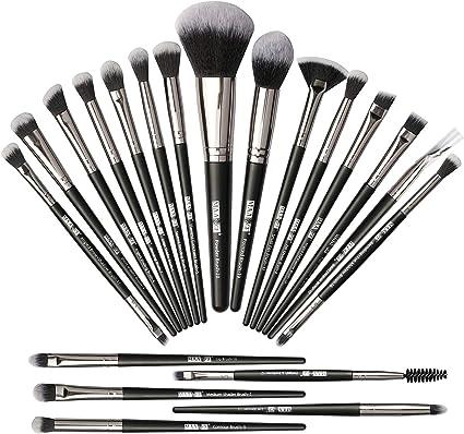 Pinceles de maquillaje 20Pcs Set de pinceles de maquillaje Pinceles de maquillaje profesional Cepillo de base sintética Premium Set de pinceles de maquillaje de ojos suaves-Negro Plata: Amazon.es: Belleza