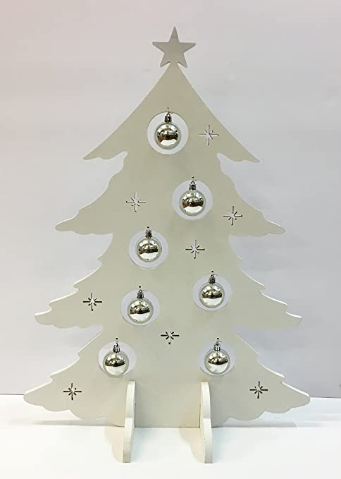 Albero Di Natale In Legno Shabby.Albero Di Natale Da Appoggio Stilizzato In Legno Bianco