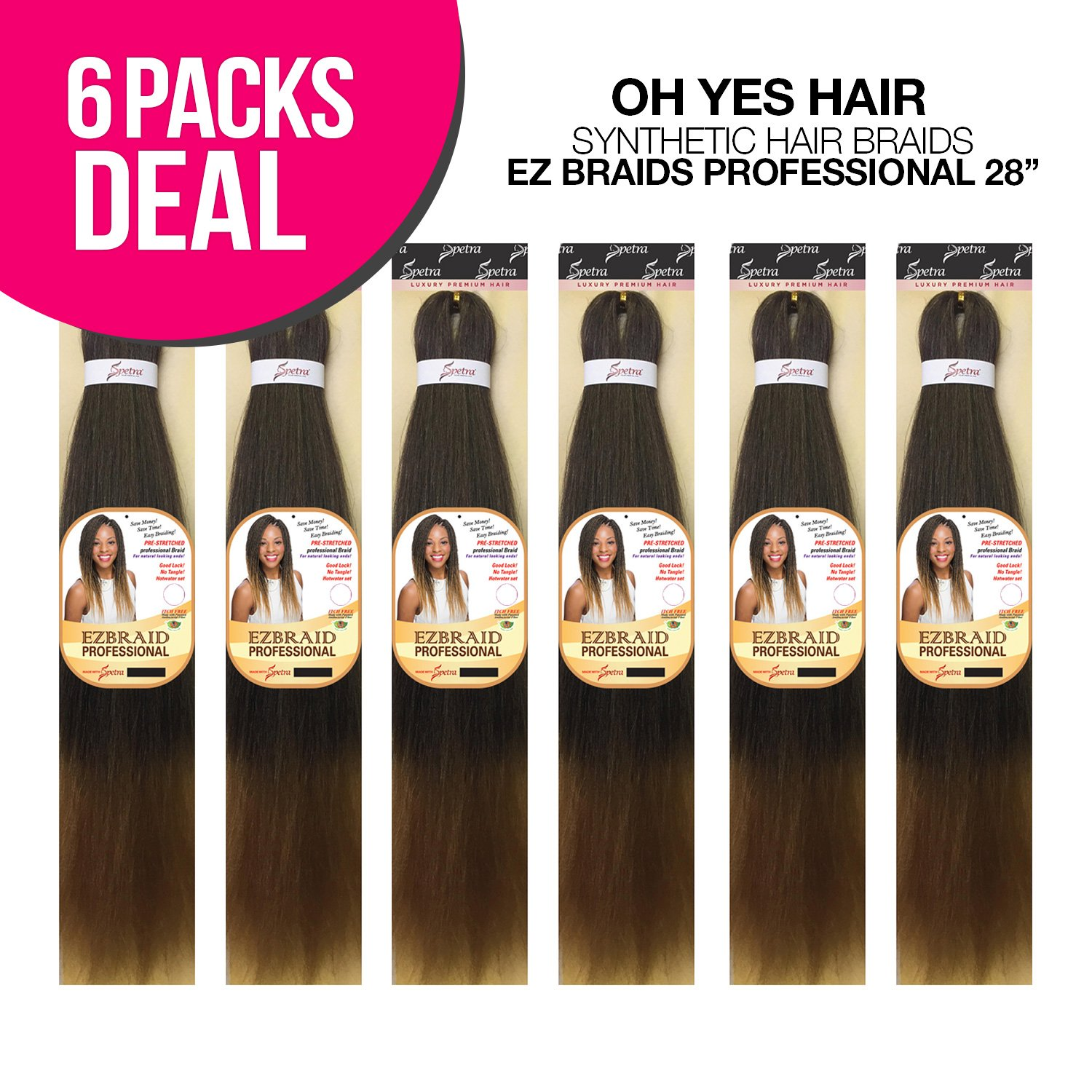 MULTI PACK DEALS! Oh Yes Hair Synthetic Hair Braids Ez Braids Professional 28'' (6-PACK, T1B/30)