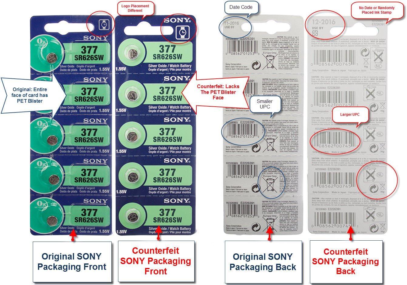1 Box of 100 Sony 1.55v Silver Oxide Watch Batteries 377 SR626SW