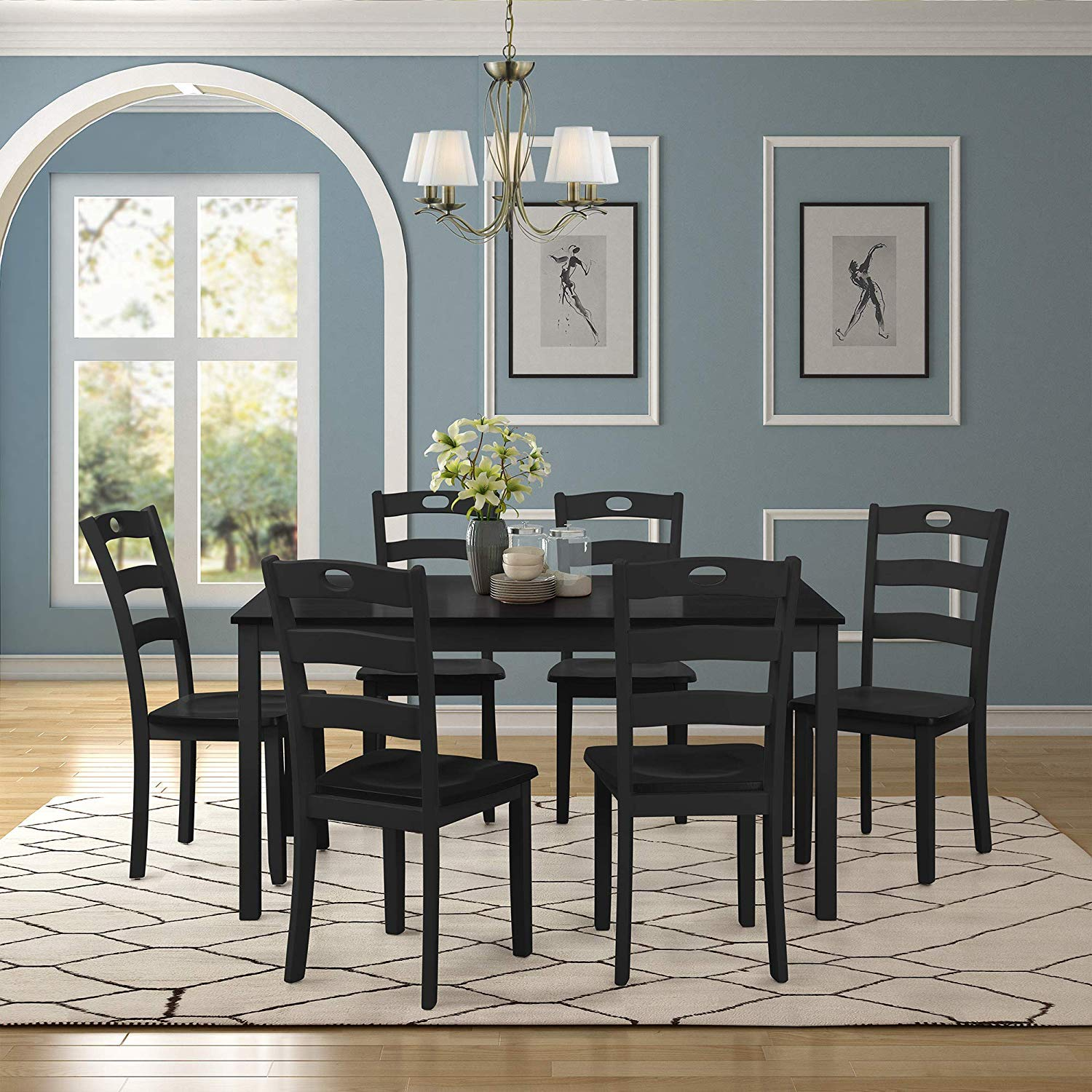Merax Dining Table Set for 6 Black Kitchen Table Sets Wood Dining Table with 6 Chairs and Exquisite Dining Room Furniture