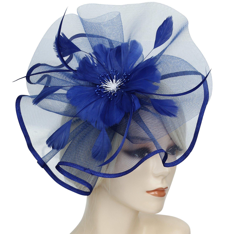 Discoball elegante fiore fascia piuma cappello fascinator matrimonio copricapo da donna Day Race Royal Ascot Navy 5 71686
