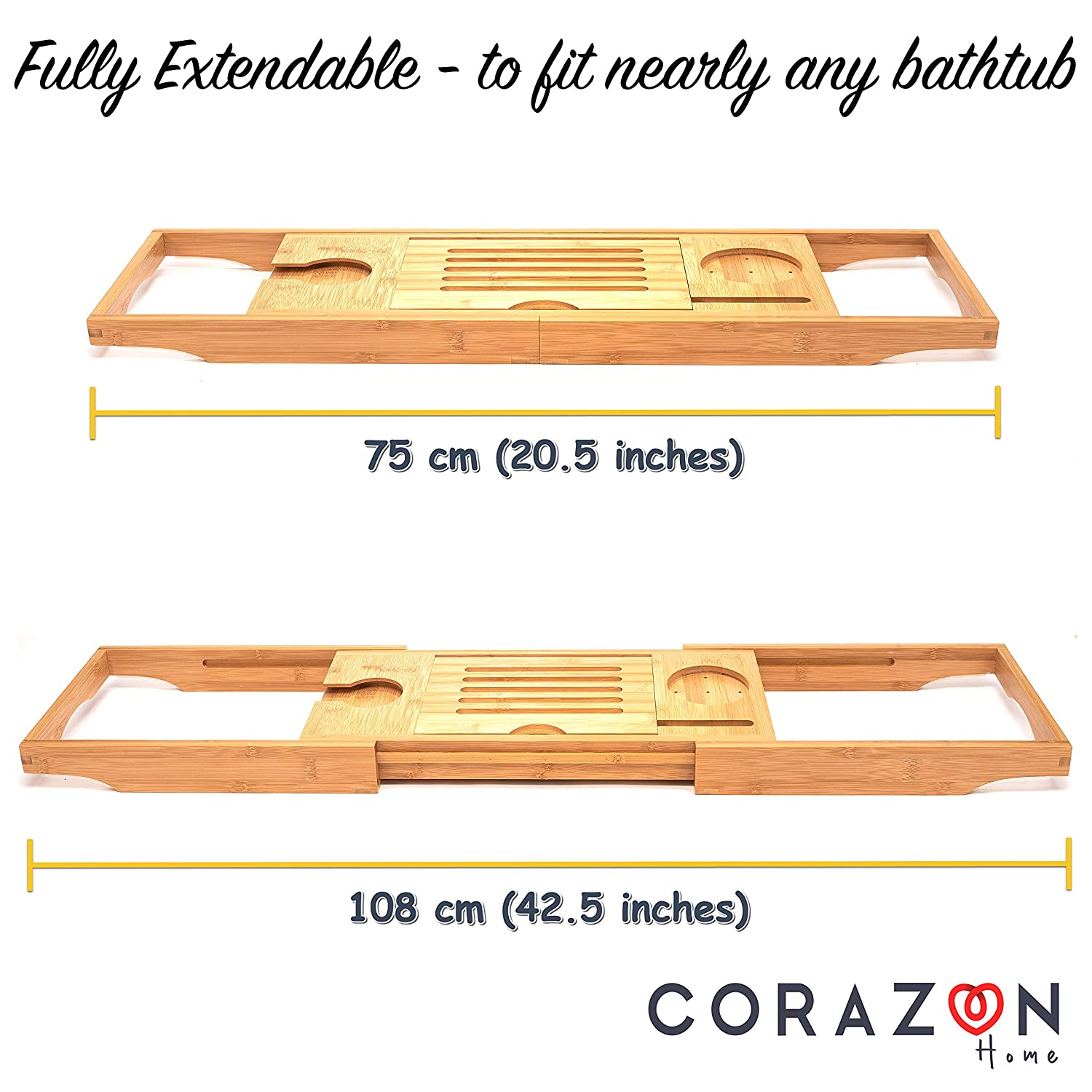 Candle//Glass Holder Phone Holder and Wine Glass slots Extendable Table Luxury Bamboo Bath Tray Wooden Bathtub Caddy and Breakfast Tray with Ipad//Tablet Holder Perfect Bathroom Accessories CORAZON HOME .