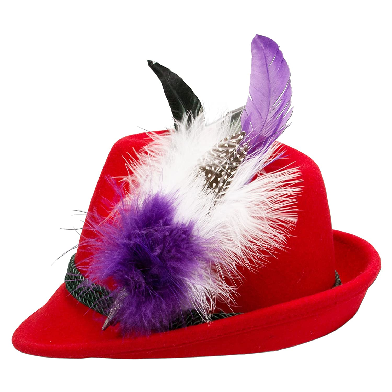 Alpenflüstern Damen Filzhut Trachtenhut rot mit Hutfeder Farbenfroh ADV07400M70 lila