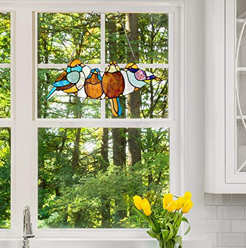 River of Goods Mini Birds on a Wire 8 Inch High Stained Glass Suncatcher Window Panel, Brown, Blue