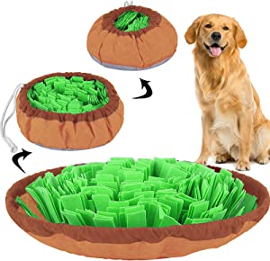 beetoy Pet Snuffle Mat for Dogs, Pet Snuffle Feeding Mat Interactive Game for Boredom, Dog Puzzle Toys for Stress Release Encourages Natural Foraging Skills, Dual-Use Portable & Washable Puppy Mat