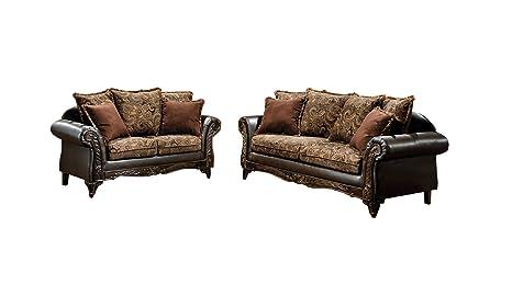 Amazon Com Furniture Of America Inigo 2 Piece Fabric And