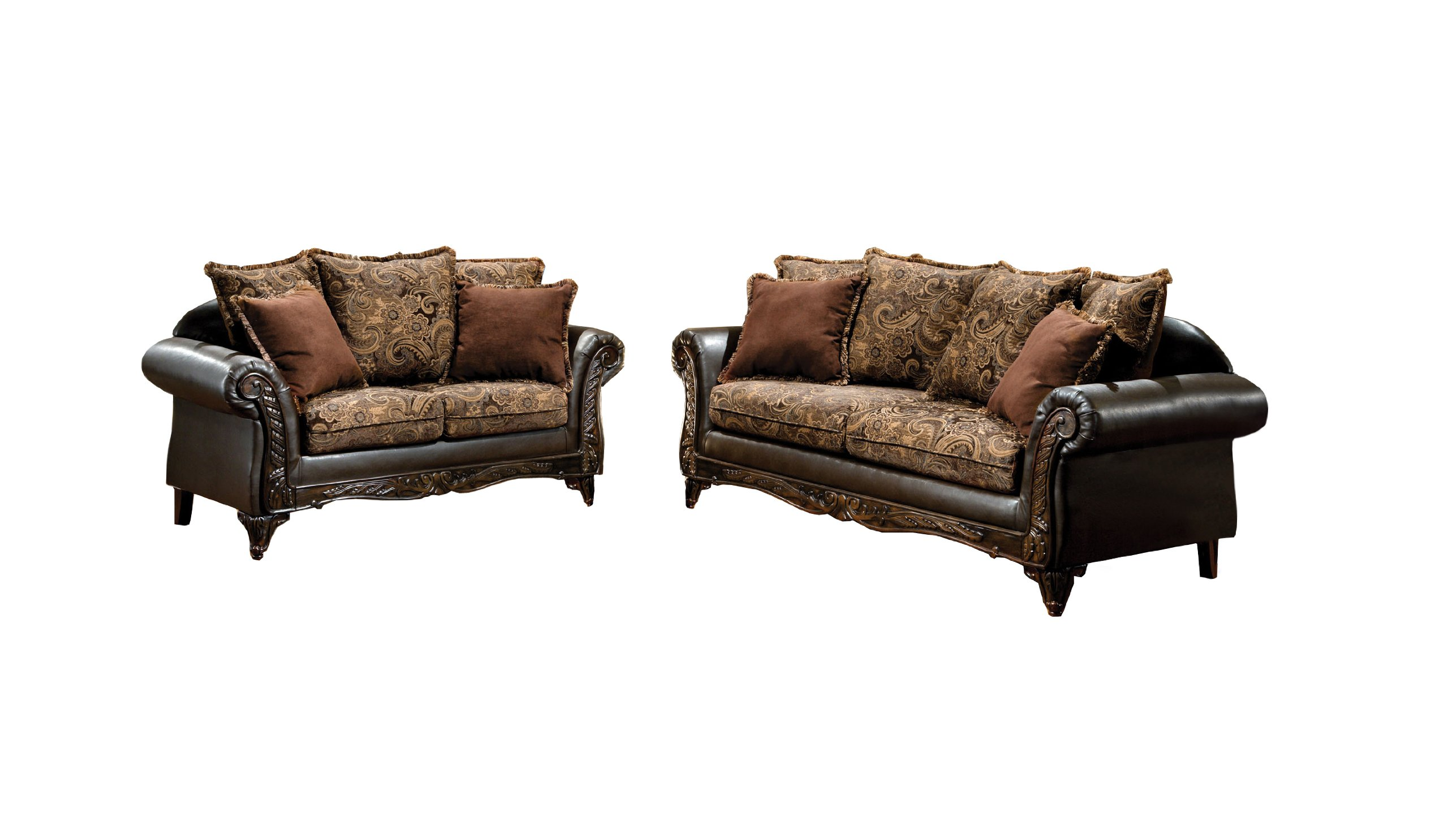 Furniture of America Inigo 2-Piece Fabric and Leatherette Sofa Set with Accent Pillows and Wood Trim, Dark Brown Floral Print