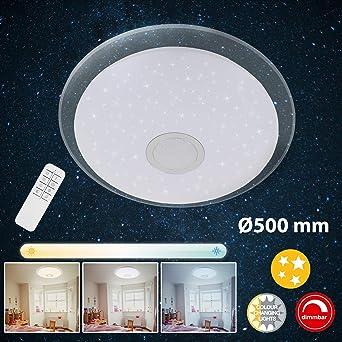 Briloner Leuchten LED Deckenleuchte mit Fernbedienung, Deckenlampe dimmbar, Farbtemperatursteuerung, 2200 Lumen, 24 Watt, Metall, W, Weiß chrom, Ø50