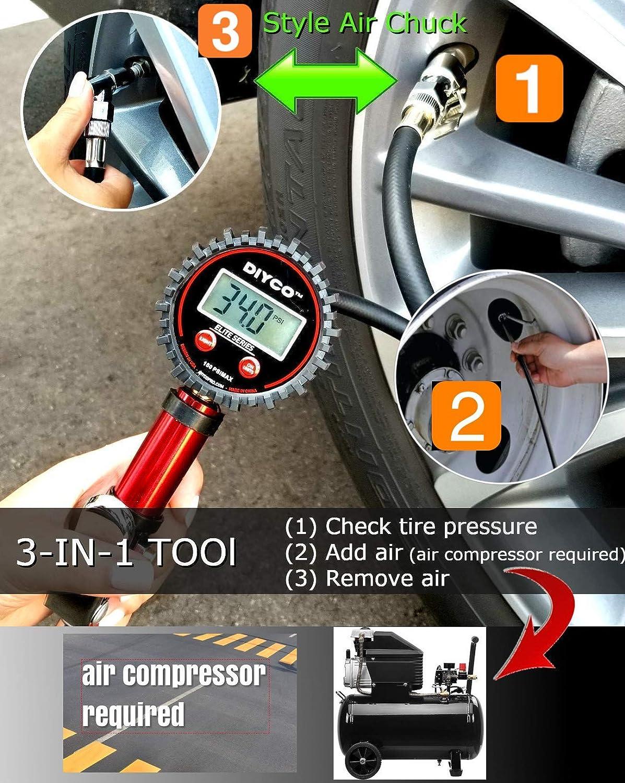 DIYCO D3.4 Plus Digital Tire Inflator with Pressure Gauge Bundle Set