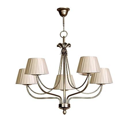 Lámpara de techo de 5 luces acabado plata vieja con ...