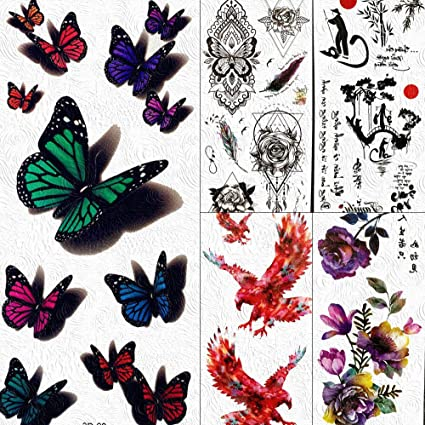 lihaohao Etiqueta Engomada del Tatuaje Temporalcolorido 3D ...