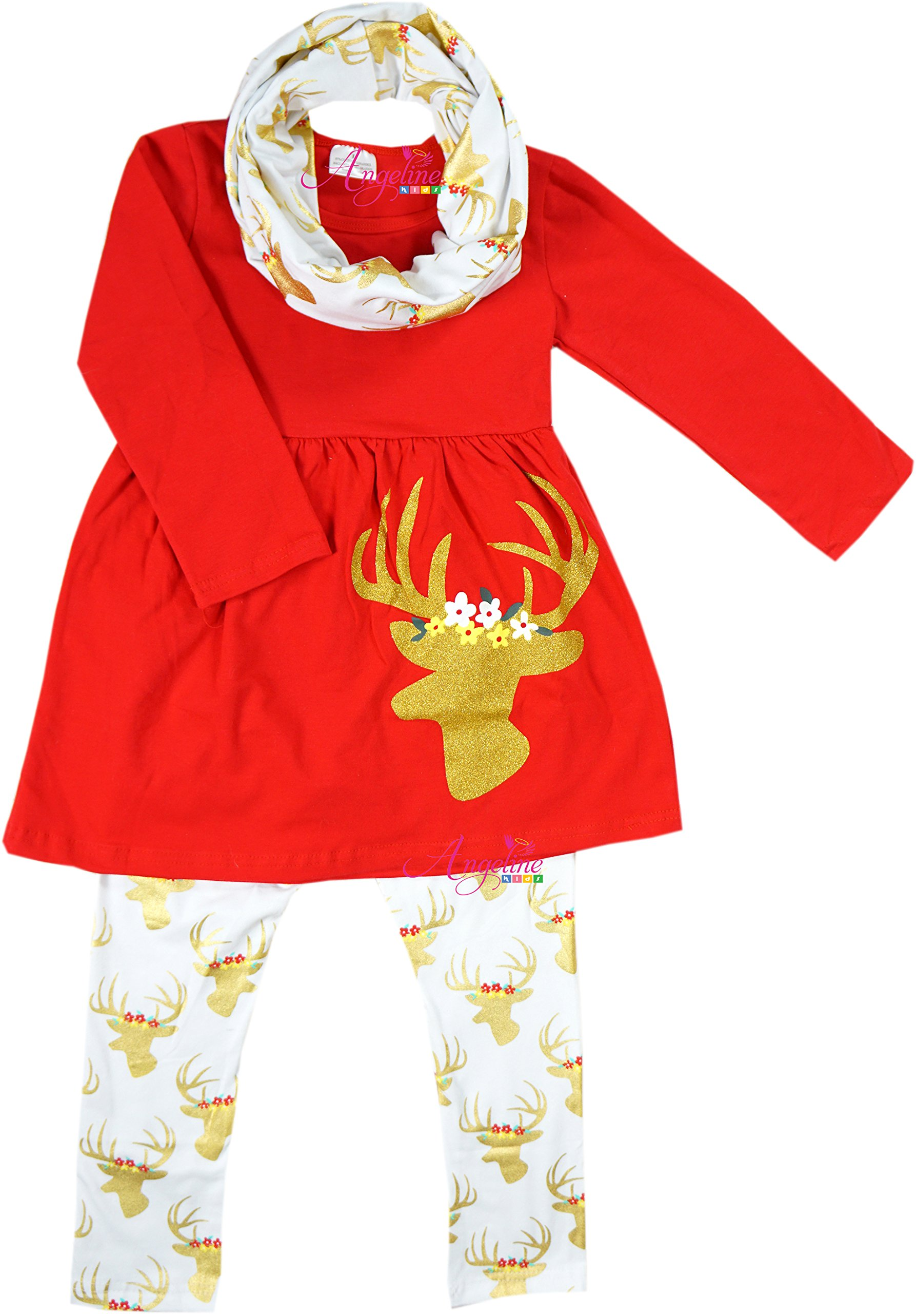 Boutique Clothing Girls Christmas Reindeer Scarf Set Gold 2T by Angeline