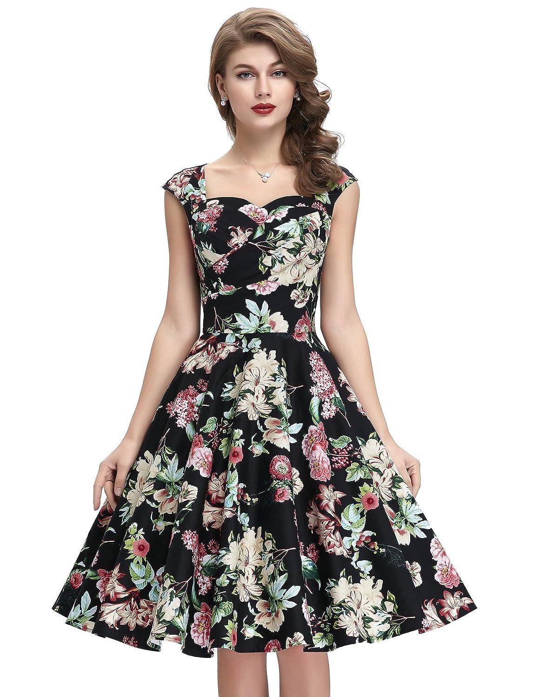 Belle Poque 50s Style Vintage Dresses Sweetheart Neck BP105 (Multi ...