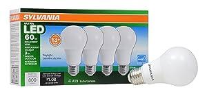 Sylvania Home Lighting 78040 Sylvania Dimmable Led Light Bulb, 9 W, 120 V, 800 Lumens, 5000 K, CRI 80, 2.375 in Dia X 4.19 in L, 4 Piece