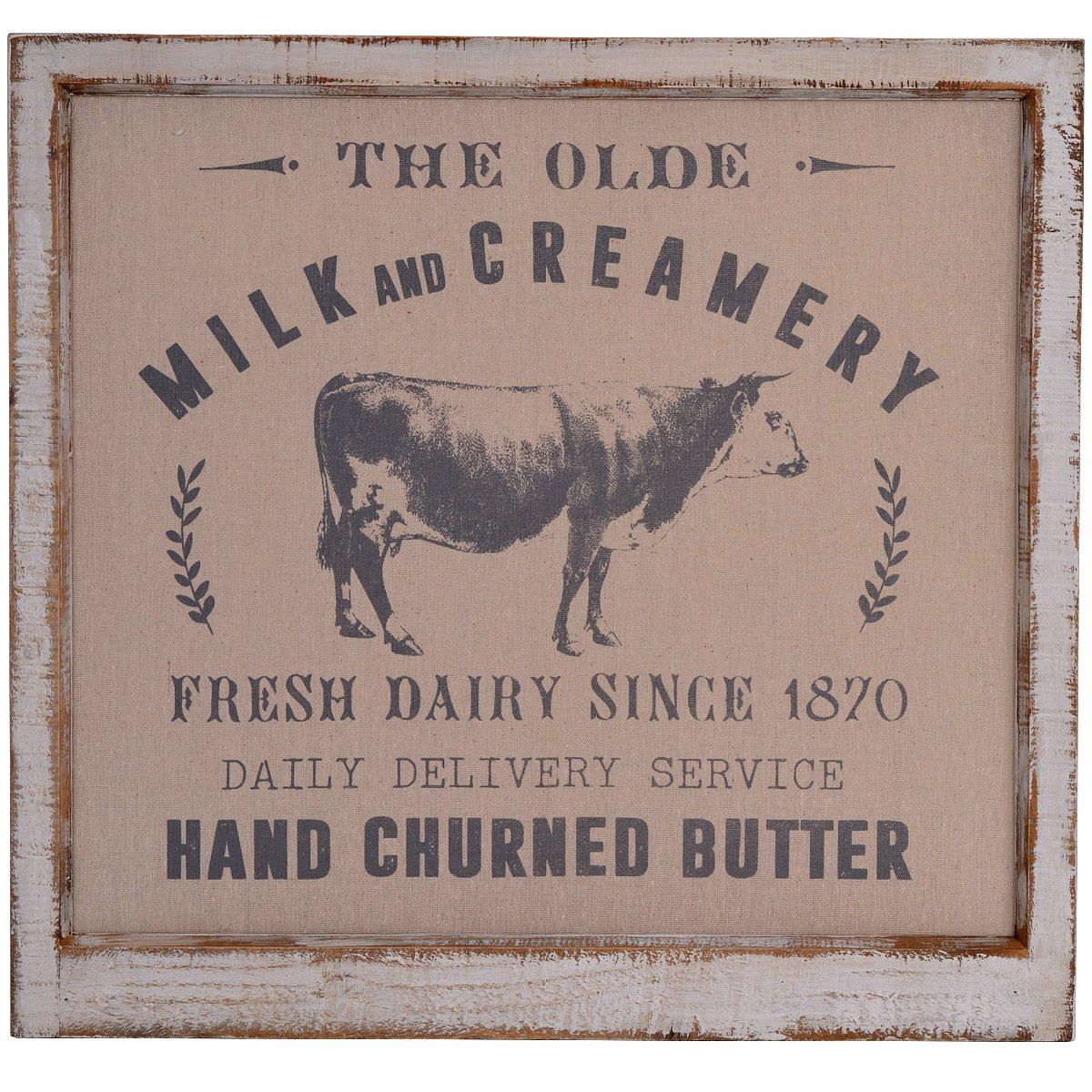"NIKKY HOME 24"" x 23"" Vintage Farmhouse Wood Framed Wall Art Milk and Creamery Daily Delivery Service Linen Print"