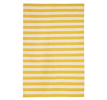 DwellStudio Draper Stripe Citrine And Cream Runner, 5 By 8 Feet