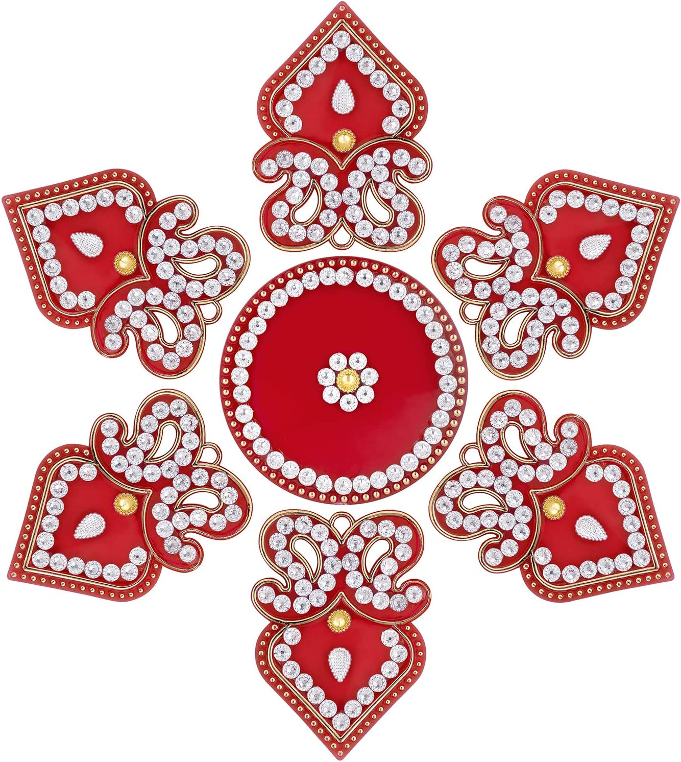 Aheli Double Paisley with Modak Acrylic Rangoli Indian Traditional Floor Decoration for Diwali Festive Seasonal Office Home Decor