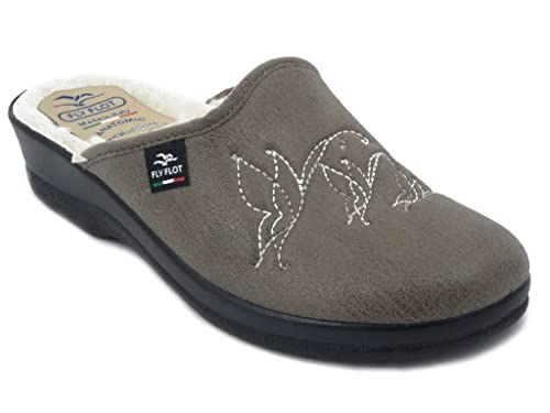 FlyFlot Ciabatta pantofola donna in ecopelle colore marrone con fodera in  lana e413f10c43e
