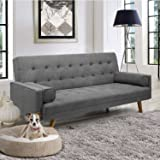Pawnova, Grey Modern Couch Living Room, Upholstered Convertible Folding Futon Sofa Bed with Fabric Tufted Split Back…