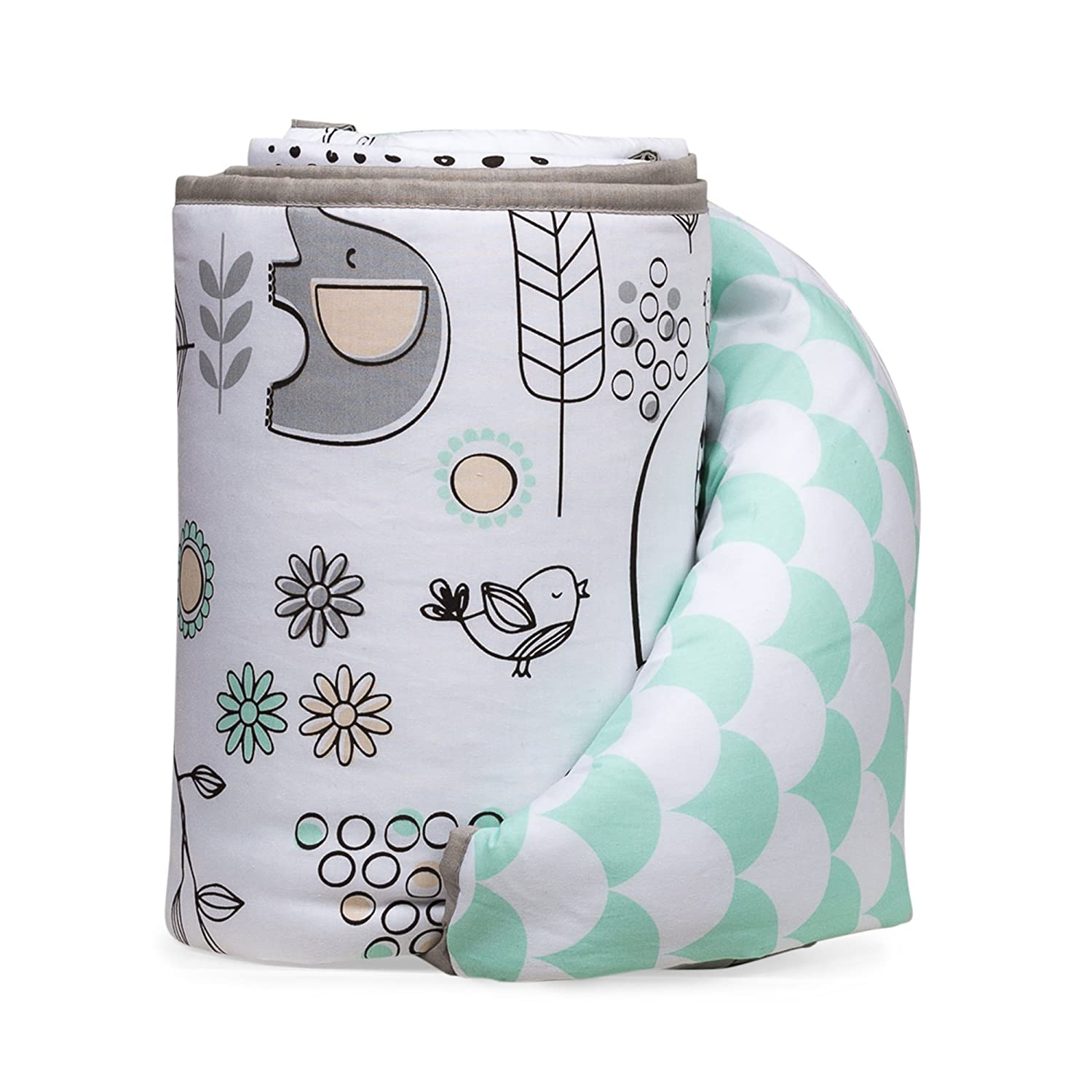 Lolli Living Elle Elephant Crib Bumper with Reversible Mint Scallop SG/_B07653X6JK/_US 100/% Cotton Baby Crib Liner Kayden Collection