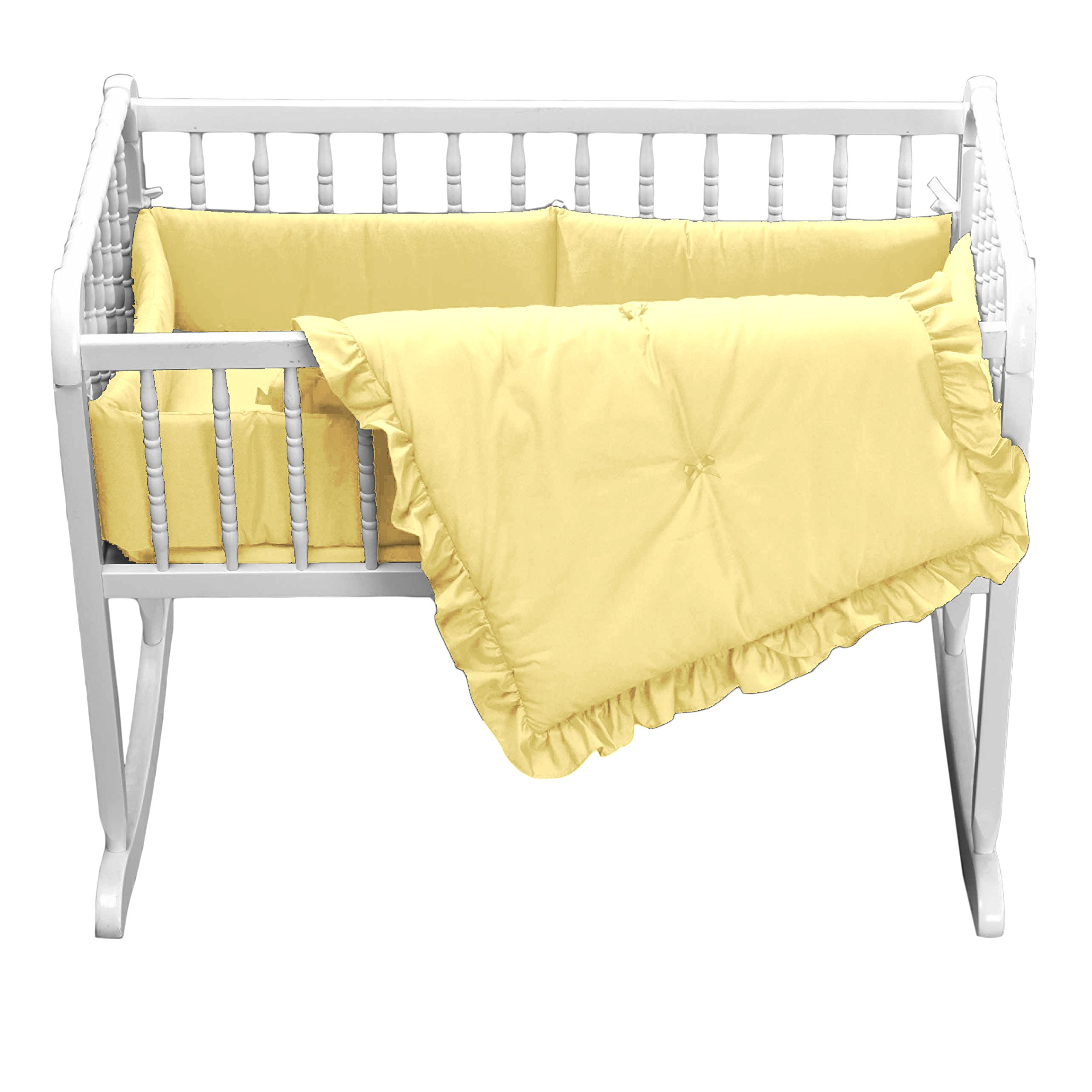 bkb Primary Colors Cradle Bedding with Extra Sheet, Yellow, 15'' x 33''