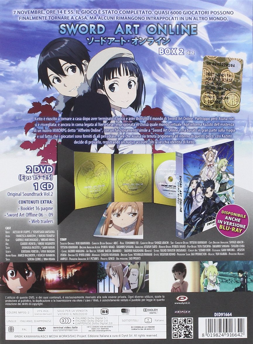 Amazon.com: sword art online box #02 (eps 15-25) (2 dvd+cd) box set dvd Italian Import: animazione, hiroshi hamasaki: Movies & TV