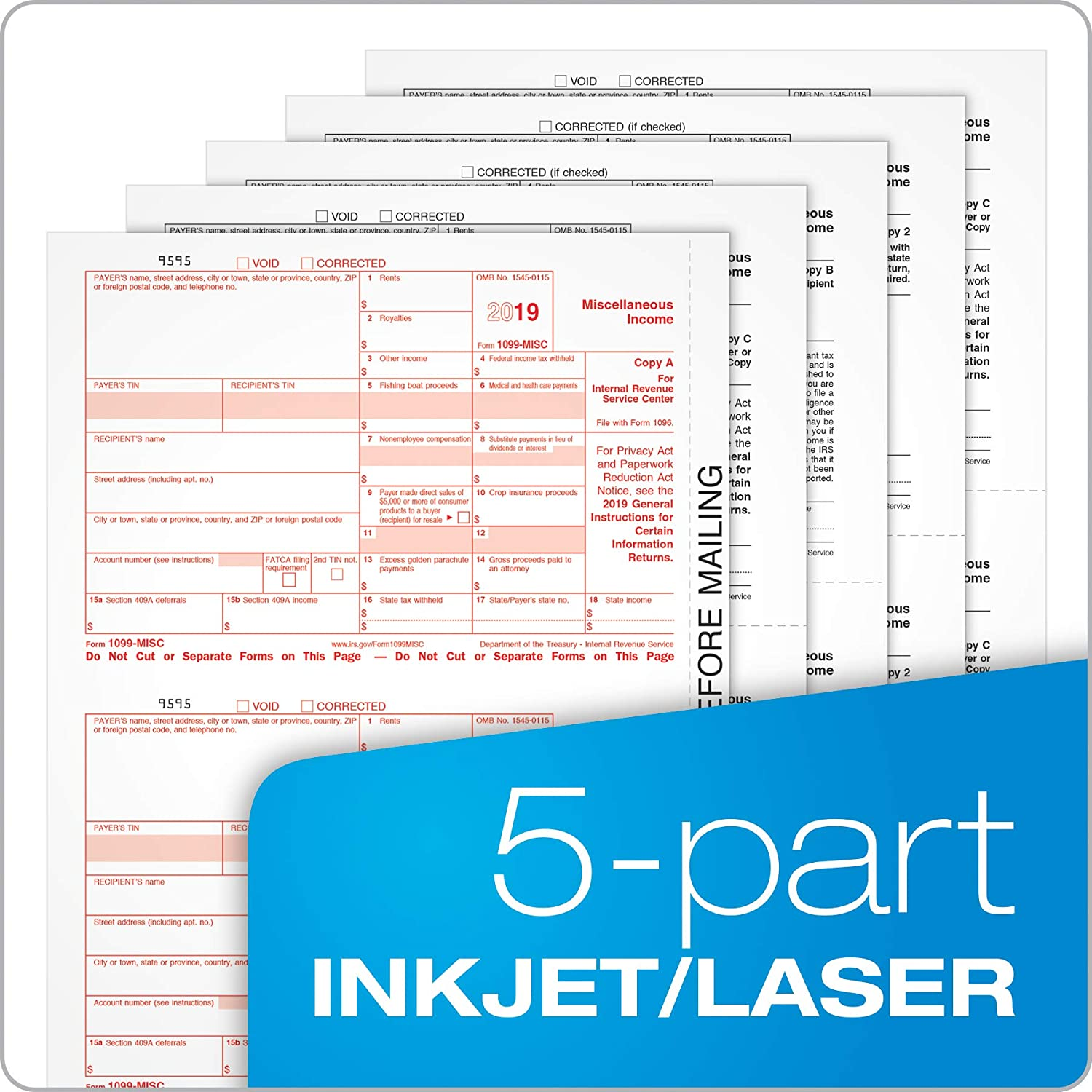 Tops 1099 MISC Inkjet//Laser Tax Forms for 2018-5-part Form Sets for 50 recipients and a 1096 Summary Transmittal Form